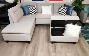 GREY LINEN SOFA SECTIONAL WITH STORAGE for Sale in LAUD BY SEA, FL