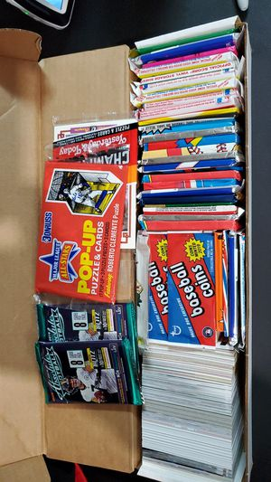 Box of baseball baseball football cards with unopened packs for Sale in Temecula, CA