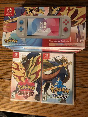 Nintendo Switch Lite Zacian and Zamazenta Edition, Pokemon Shield, Pokemon Sword for Sale in Los Angeles, CA