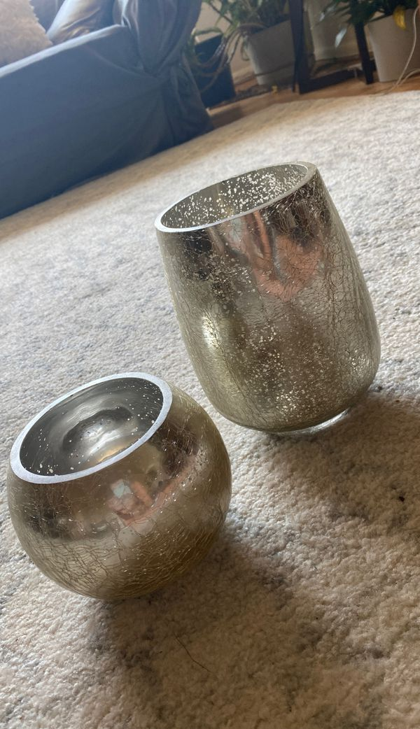 Set of Decorative Vases: Silver Cracked Glass Effect