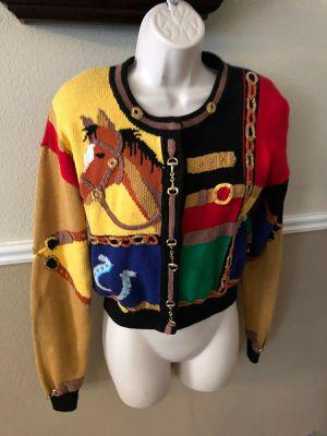 Vintage Berek Horses horsebit cropped sweater, {url removed} S for Sale in Hillsboro, OR