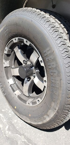2 Used Trailer Wheels/Tires/Rims Caps/Lug Nuts 225 75 15 inch 5 lug 5x4.5 bolt pattern for Sale in Moreno Valley, CA