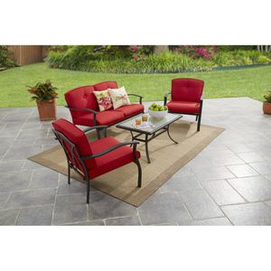 Mainstays Belden Park 4-Piece Outdoor Sofa Set for Patio, Red, Seats 4 for Sale in Houston, TX