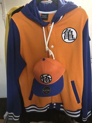 New DRAGON BALL Z DBZ GOKU VARSITY HOODIE Jacket ORANGE Blue w/ SnapBack Hat Cap for Sale in Union City, CA