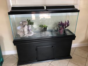 55 gallon fish tank with hood lights, tank stand, tank decor and gravel.. for Sale in Oakbrook Terrace, IL