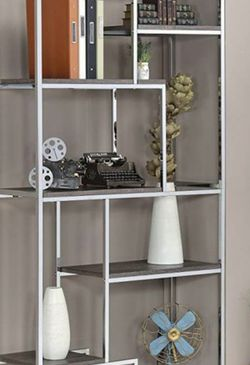 Chrome Bookcase With Distressed Gray for Sale in Commerce,  CA