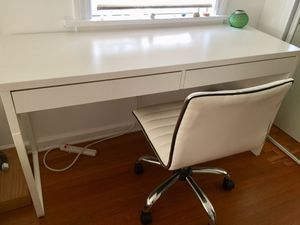 IKEA desk and office chair white color. $100 for both. for Sale in Los Angeles, CA