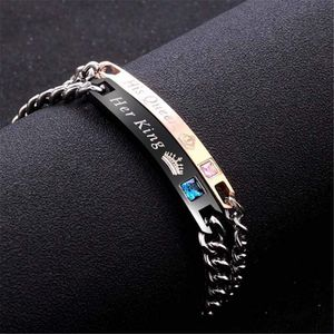 2pcs Jewelry Her King His Queen Lovers Bracelet Stainless Steel Crystal Crown Charm Bracelets Women for Sale in Anaheim, CA
