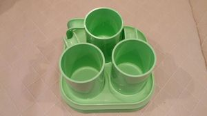 3 plastic cups and 4 matching trays for Sale in Alexandria, VA