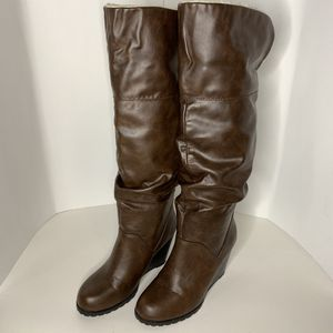 Jasmin | Faux Leather Knee High Wedge Boots - 7 for Sale in Costa Mesa, CA