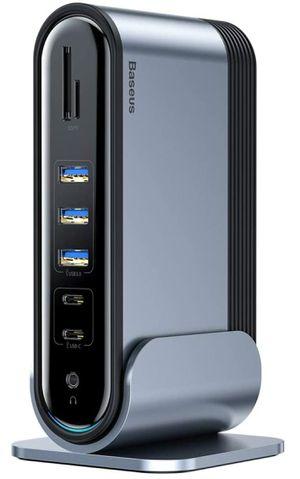 USB C Docking Station, Baseus Dual Display Universal Laptop Docking Station with HDMI/VGA Output, Audio, Gigabit Ethernet for Sale in San Benito, TX