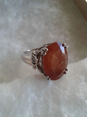 Genuine Red Rutilated Quartz Ring, Size 8, Platinum over Sterling Silver for Sale in Woodbridge, VA