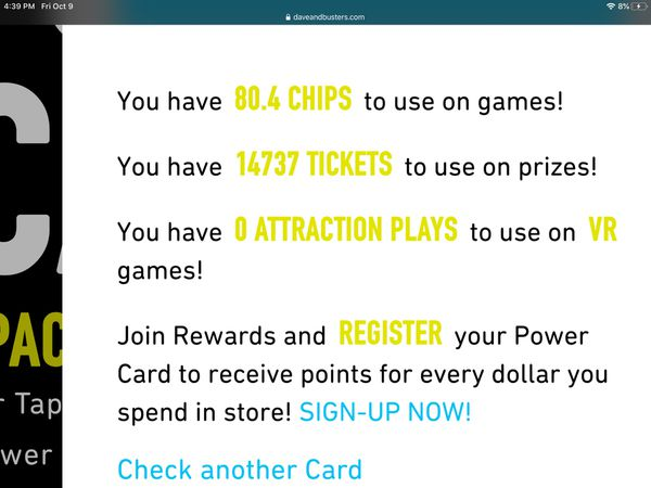 Dave and busters tickets and chips
