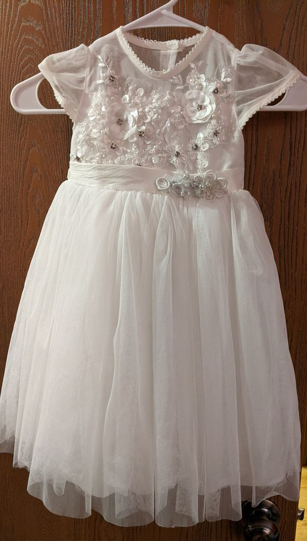 Baptism dress size 2 years old with shoes .
