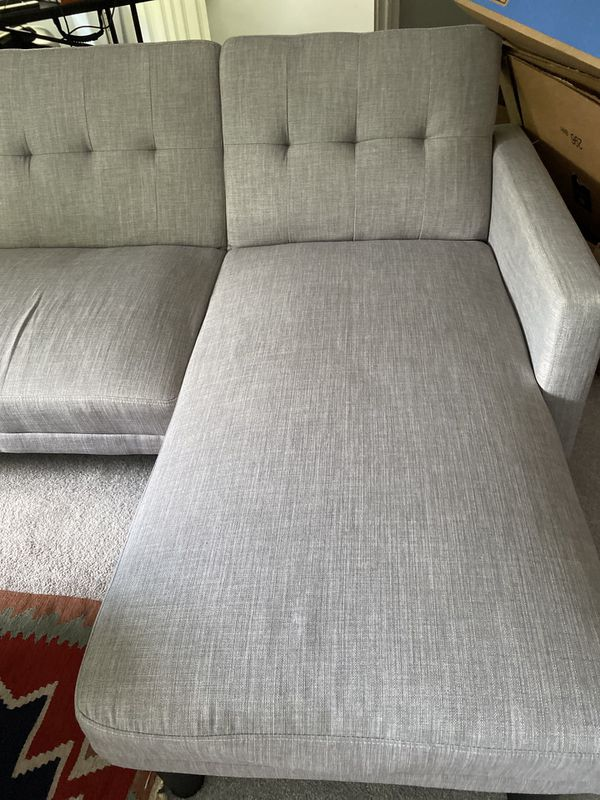 New Barely Used Light Grey Sectional Futon $250