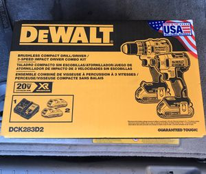 Brand New Dewalt 20-Volt MAX XR Cordless Brushless Drill/Impact Combo Kit (2-Tool), (2) Battery, Charger, Case for Sale in Alhambra, CA