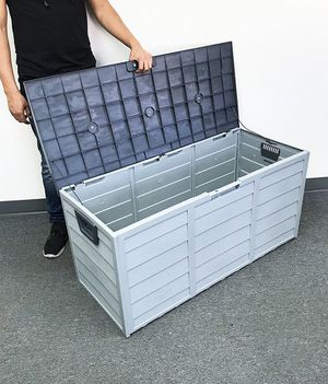 """Brand new $45 each Plastic Storage Box 70 Gallon Outdoor Durable Plastic Shed Waterproof 44""""x19""""x21"""" for Sale in Pico Rivera, CA"""