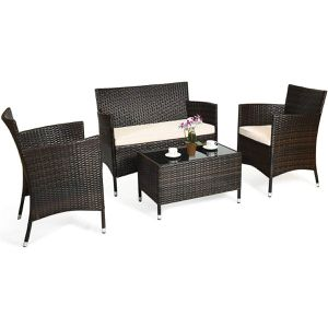 4 pcs outdoor rattan wicker furniture set 2 chairs and 1 coffee table love seat swimming pool side backyard patio porch for Sale in Miami, FL