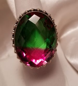 Lab tourmaline and sterling silver large ring, size 8 for Sale in Brewer, ME