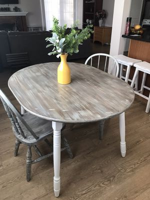 Farmhouse solid wood dining table set . One of the kind Unique (table for two ) Table and two Chairs for Sale in Pomona, CA