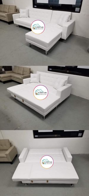 New White Bonded Leather 2pc Reversible Sofa Futon Sectional Couch - Financing Available for Sale in Riverside, CA
