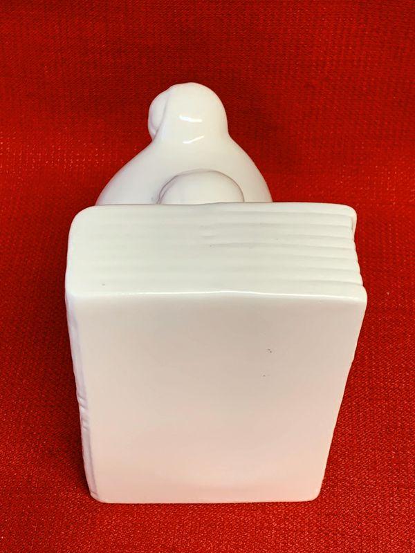 "White Ceramic Frog Book End Holder 4 1/4"" x 3 1/2"" x 5 1/8"""