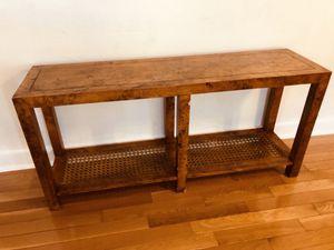Long Wooden Old Vintage Table - Wicker Weaved for Sale in Phoenix, AZ