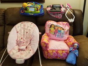 2 door frame jumpers, baby bouncer chair, stuffed toddler chair, potty chair, pink walker and misc. baby-toddler toys for Sale in Tulsa, OK