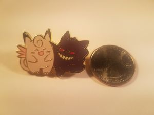 *SHIP ONLY* Gengar Hitting on Clefable Metal Collectible Pokemon Pin Badge for Sale in Phoenix, AZ