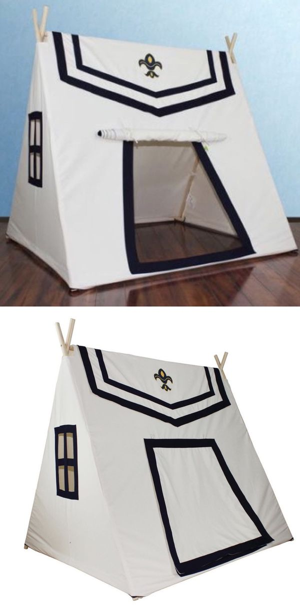 New in box Dexton Toadi Fort 54L x 48W x 60H inches Indoor Outdoor Pitch Pretend Play Tent Wooden Poles Fire Resistant Cotton MSRP $142