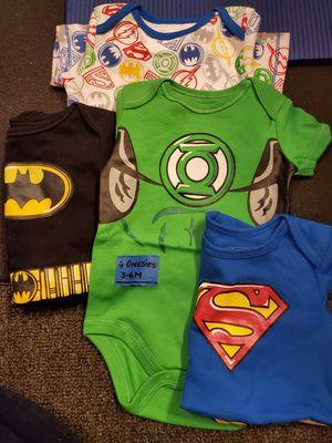 3-6 Months set of 4 superhero onesies for Sale in Coral Springs, FL