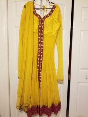 Mustard yellow fuchsia pink Indian pakistani long dress for Sale in Sanford, FL