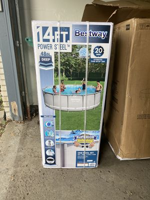 "Bestway 14' x 48"" Power Steel Frame Above Ground Round Swimming Pool Set for Sale in Novi, MI"