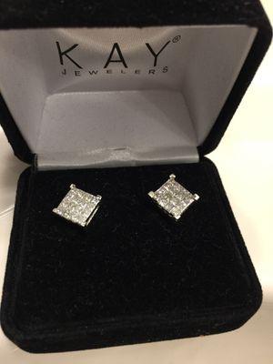 Diamond ear ring 1 kt in each ear 100% real white gold diamonds ear rings for Sale in Parkville, MD