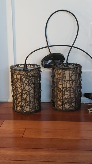 Pair of Wicker pendant lights for Sale in Sterling, VA