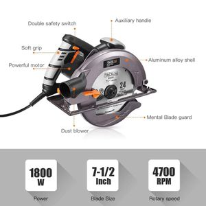 """T TACKLIFE Upgraded 12.5-Amp 1800W 7-1/2"""" Circular Saw With Lightweight Aluminum Guard - ECS01A for Sale in Fontana, CA"""