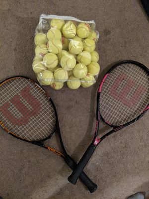2 tennis rackets Wilson and bag of tennis balls for Sale in Los Angeles, CA