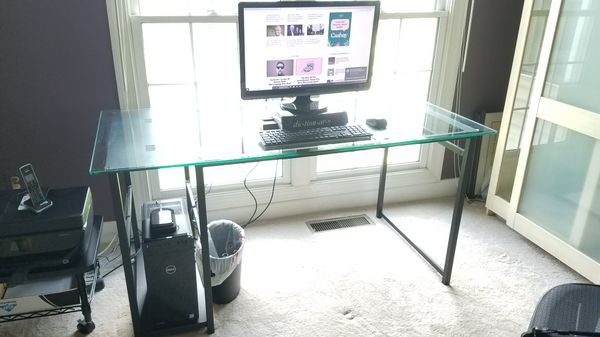 Glass and black metal office system