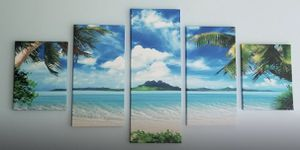 BRAND NEW Canvas 5 Panel Gallery Wrapped Seascape Tropical Ocean Wall Art Modern Home Decor for Sale in San Marcos, CA
