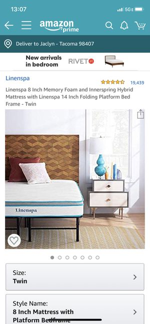 Linenspa twin mattress with platform for Sale in Tacoma, WA
