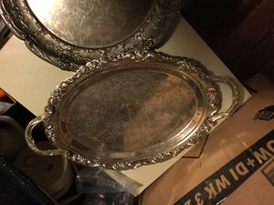 Real silver serving trays. for Sale in Smyrna, TN