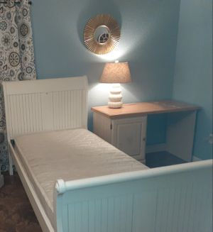 Twin bed frame and mattress with desk $150 for Sale in Modesto, CA