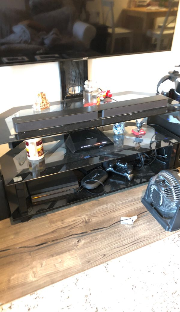 "55"" tv stand with mounting arm and brackets"