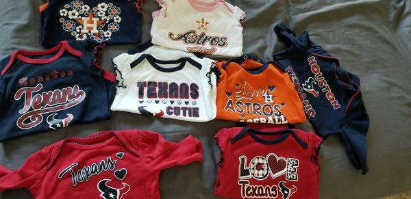 Baby girl onesies astros texans