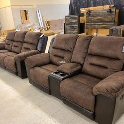 ♦️New ☑️Instock ♨️Sofa ⚡Loveseat ♦️Earhart Chestnut Reclining Living Room Set by Ashley ▶️ for Sale in Silver Spring,  MD