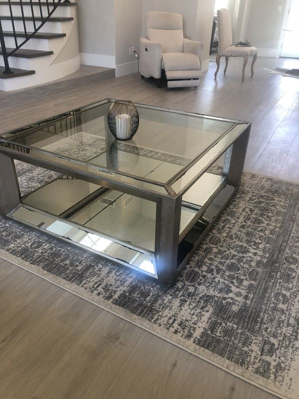 Z Gallerie pascual coffee table glass mirror for Sale in ...