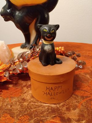 Halloween black cat Vintage Figurine box decor for Sale in Riverside, CA