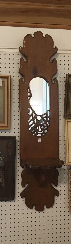 "Solid wood hanging mirror with shelf. Rustic sturdy piece 42"" x 9"" for Sale in Longwood, FL"