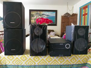 Philips music system bluetooth. CD. With 4 speakers for Sale in Gaithersburg, MD