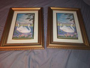 2-Antique Unique Swans Frames 3D Ceramic Swans for Sale in San Bernardino, CA